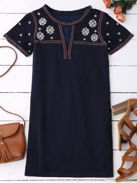 womens Embroidered Shift Ethnic Dress - BLACK BLUE L Mobile