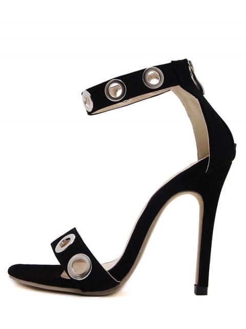 new Hollow Out Zipper Stiletto Heel Sandals - BLACK 39 Mobile