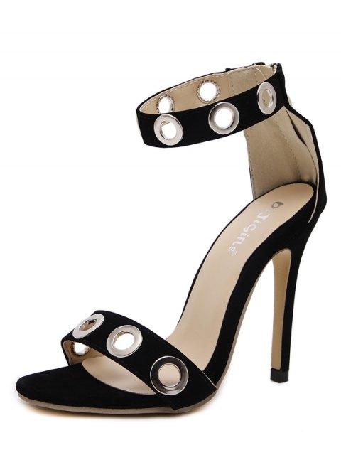 hot Hollow Out Zipper Stiletto Heel Sandals - BLACK 37 Mobile