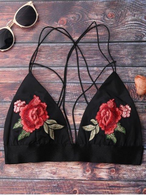 fashion Floral Strappy Bralette Crop Top - BLACK S Mobile