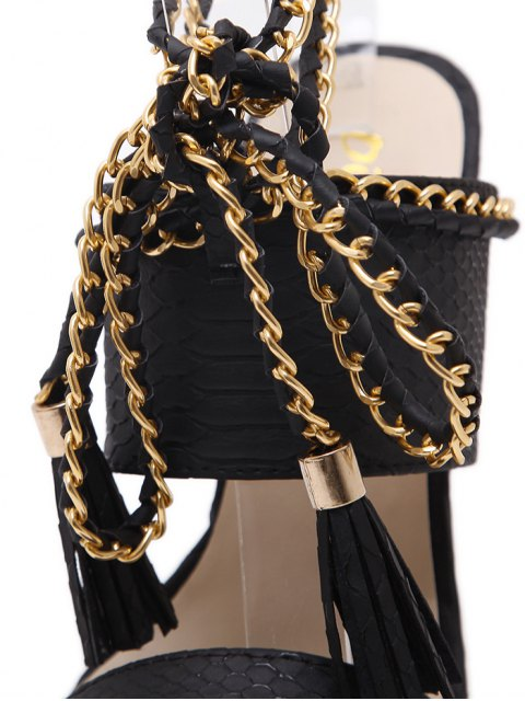buy Chains Lace Up Tassels Sandals - BLACK 38 Mobile
