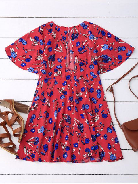 hot Floral Split Back Dress - RED S Mobile