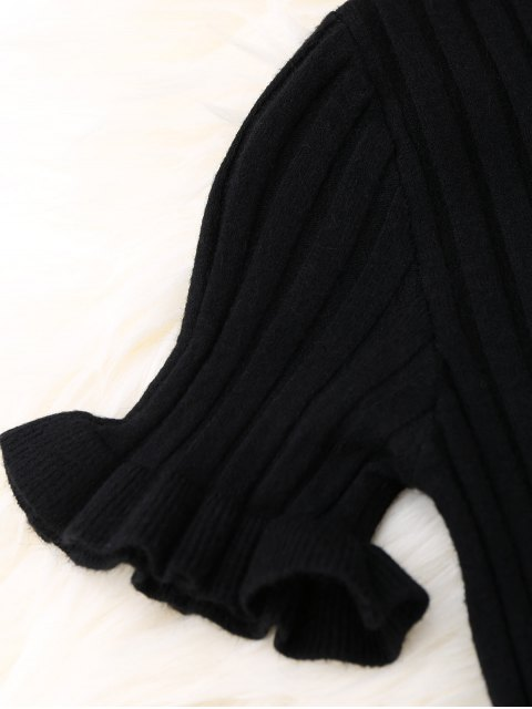 womens Knitted Ribbed Top - BLACK ONE SIZE Mobile