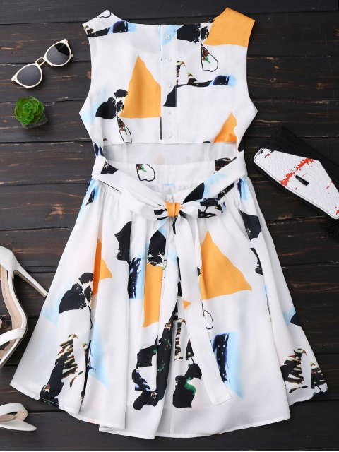 shop Print Back Buttoned Sleeveless Holiday Dress - YELLOW L Mobile