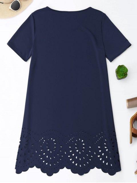women Laser Cut Tunic Shift Tee Dress - CADETBLUE XL Mobile
