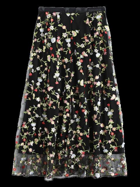 shop Floral Embroidered Tulle Skirt - BLACK S Mobile