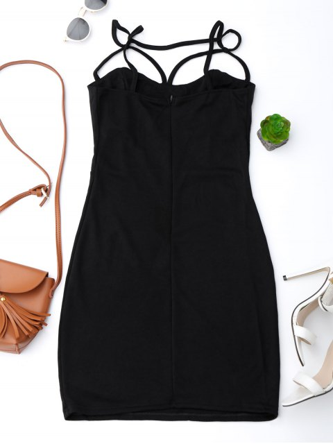chic Spaghetti Straps Low Back Bodycon Dress - BLACK L Mobile
