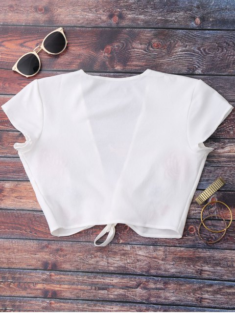 buy Knot Front Beach Cover Up Crop Top - WHITE S Mobile
