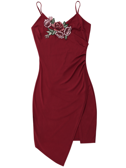 trendy Floral Patched Asymmetrical Surplice Dress - WINE RED M Mobile