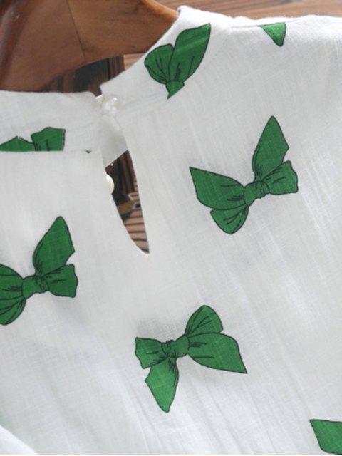 shop Bowknot Print Faux Pearl Choker Linen Dress - GREEN S Mobile