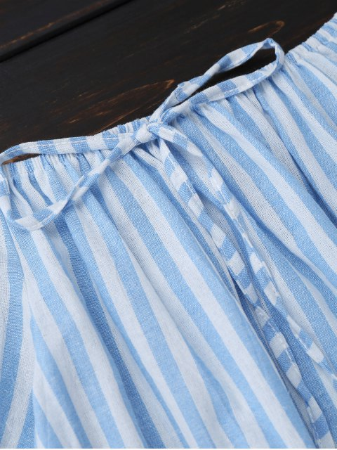 fancy Off Shoulder Drawstring Striped Dress - LIGHT BLUE XL Mobile