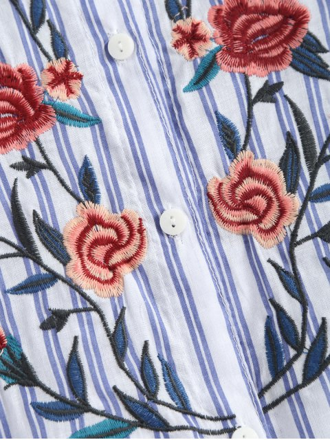 online Sleeveless Floral Embroidered Striped Shirt Dress - BLUE STRIPE M Mobile