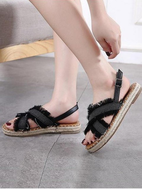 trendy Espadrilles Buckle Strap Denim Sandals - BLACK 37 Mobile
