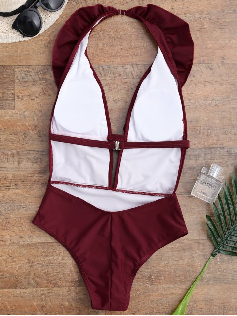 chic Ruffle Halter Plunge Neck One Piece Swimsuit - BURGUNDY S Mobile