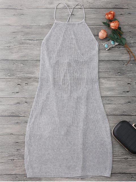 unique Strappy Apron Neck Beach Cover Up Dress - SILVER GRAY ONE SIZE Mobile