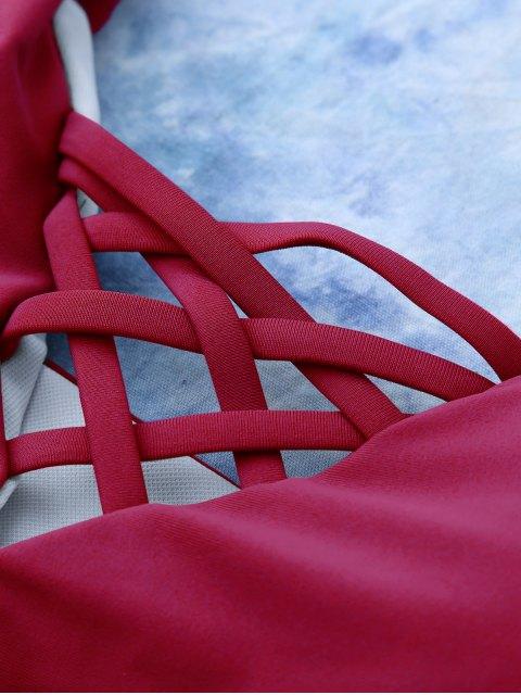 women Lace Up Bikini Swimwear - RED S Mobile