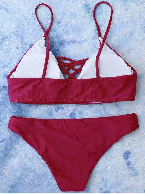 buy Lace Up Bikini Swimwear - RED L Mobile