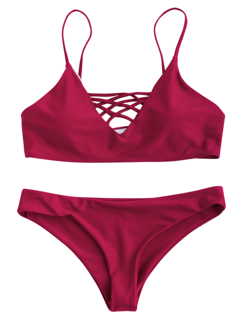 womens Lace Up Bikini Swimwear - RED M Mobile