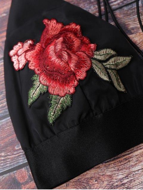 fancy Floral Strappy Bralette Crop Top - BLACK L Mobile