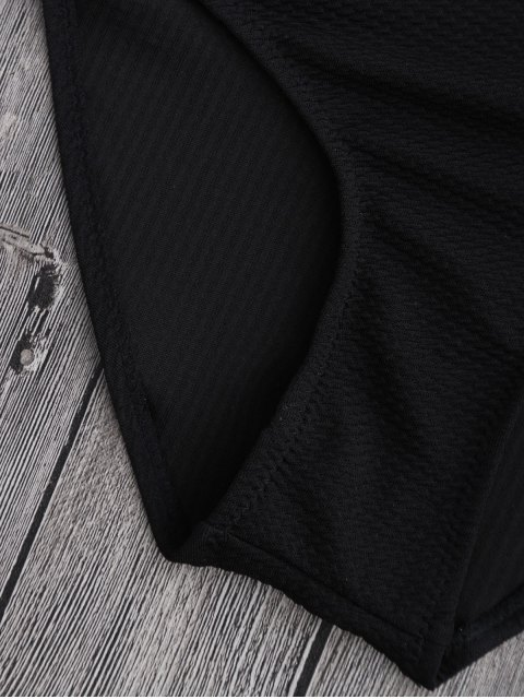 affordable Cut Out High Leg Scalloped Swimwear - BLACK M Mobile