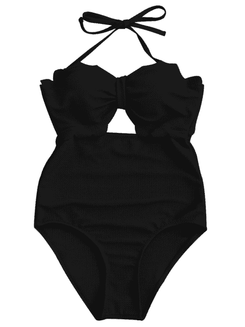 womens Cut Out High Leg Scalloped Swimwear - BLACK XL Mobile