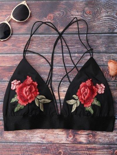 Floral Strappy Bralette Crop Top - Black