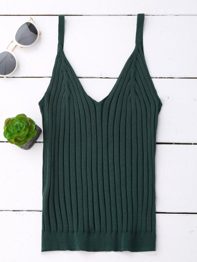 Ribbed V Neck Knit Tank Top