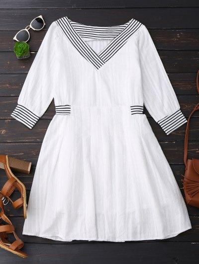 V Neck Linen Dress With Stripes - White