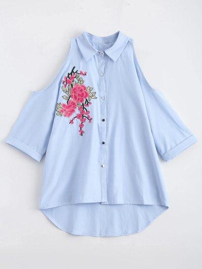 Cold Shoulder Floral Embroidered Shirt - Blue