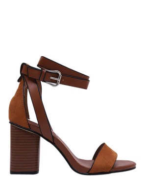 Chunky Heel Suede Ankle Strap Sandals - Brown