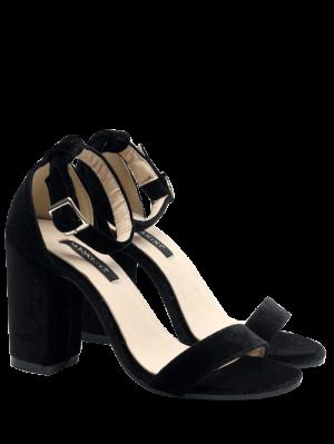 Block Heel Velvet Ankle Strap Sandals
