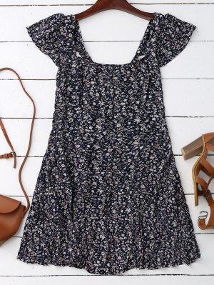 Cap Sleeve Tie Back Tiny Floral Dress - Purplish Blue