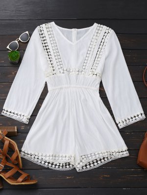 Long Sleeve Hollow Out V Neck Romper - White