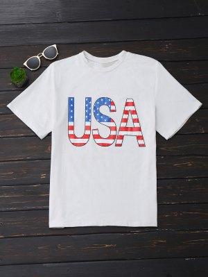 USA Graphic Oversized T-Shirt - White