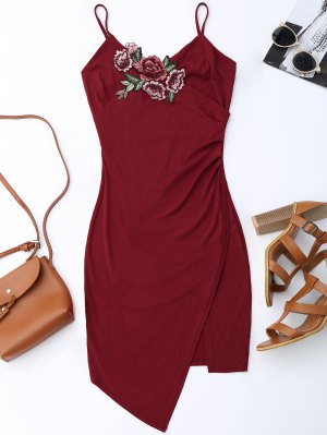 Floral Patched Asymmetrical Surplice Dress