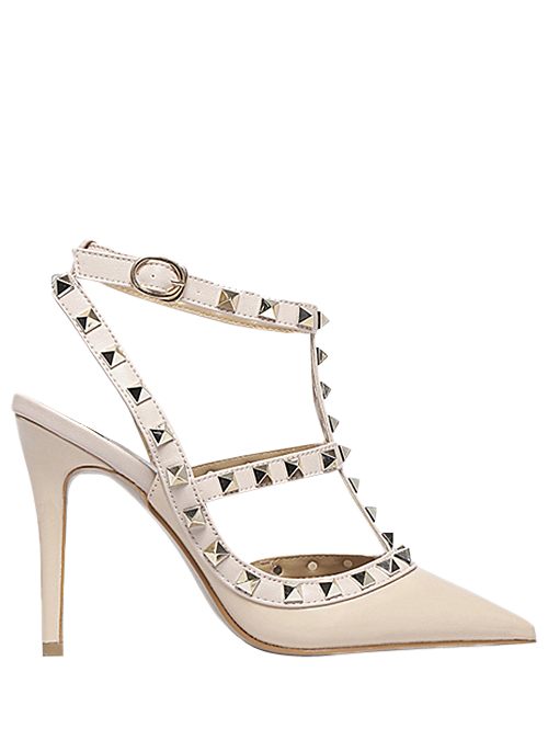 Strap Rivet Pointed Toe Pumps