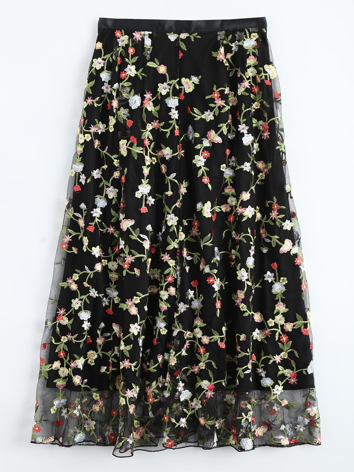 Floral Embroidered Tulle Skirt
