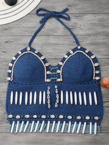 Beaded Seashell Crochet Bikini Top - Ice Blue