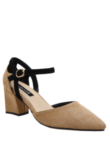 Pointed Toe Suede Chunky Heel Pumps - Khaki 38