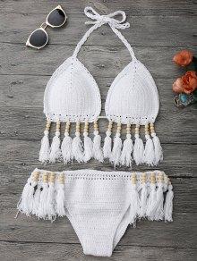 Beaded Tassel Crochet Bikini - White M