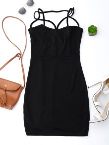 Spaghetti Straps Low Back Bodycon Dress - Black