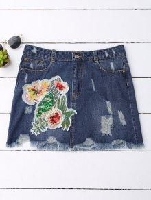 Sequins Floral Frayed Denim Skirt - Denim Blue