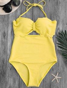 Cut Out High Leg Scalloped Swimwear - Yellow