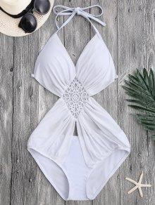 Halter Mesh Panel Monokini Swimsuit
