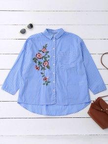 Oversized Striped Floral Embroidered Pocket Shirt - Azure