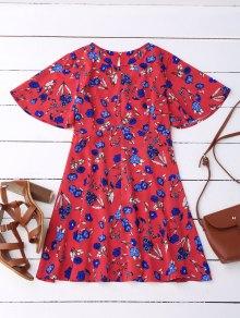 Floral Split Back Dress - Red