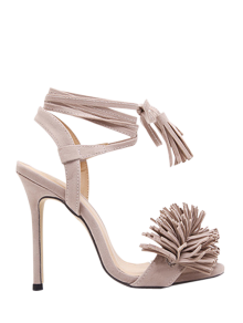 Fringe Lace-Up Stiletto Heel Sandals - Apricot 37
