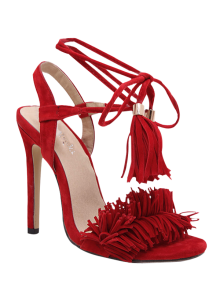 Fringe Lace-Up Stiletto Heel Sandals - Red