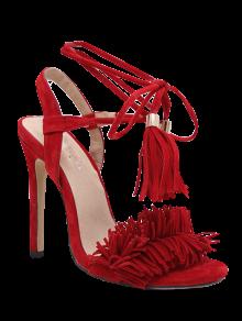 Fringe Lace-Up Stiletto Heel Sandals