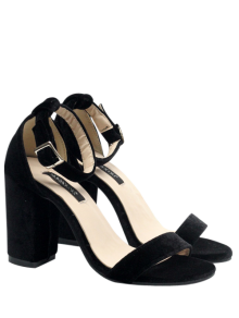 Block Heel Velvet Ankle Strap Sandals - Black